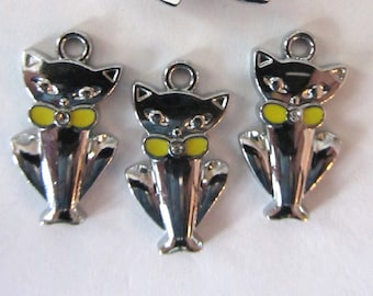 4 pieces SILVER and YELLOW CAT with Rhinestone Charm Pendants