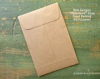 100 Eco Friendly, Rustic Kraft Seed Packets, Wedding Favor Envelopes, Recycled, Standard Size Seed Packet or Coin Envelopes, 3 x 4.5""