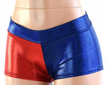 Red & Blue Metallic Harlequin LOW Rise Shorts Harley Quinn Cosplay 151584