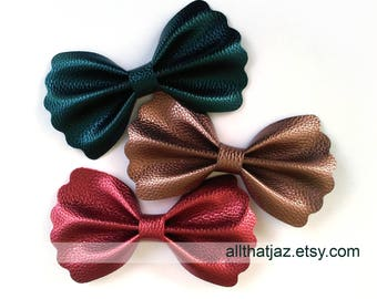 Metallic Faux Leather Bows | Scalloped Bows | Fall Bows | Holiday Bows