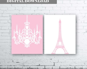 Eiffel Tower Chandelier Prints Set of Two (2)-Instant Download. Paris. French. Wall Art. Home. Decor Baby Girl Room Nursery. Girls room.Pink