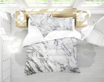 Marble White Duvet Cover , Marble Duvet , Bedding , Dorm Bedding , Bedroom  Decor ,
