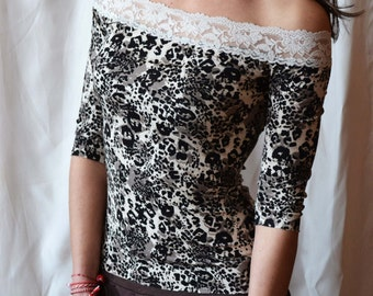 LACE TOP Sexy Lace Tops Tshirts Romantic Handmade Tshirt Lace Top Off THE Shoulder In Animal Print Stretchy Lace Sexy Lace Tshirts Tops