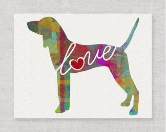 Coonhound Love - A Whimsical Watercolor Style Gift for Dog Lovers - Wall Hanging Home Decor Dog Breed Print That Can be Personalized