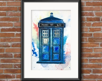 Original watercolor painting. Doctor who fanart. Watercolor TARDIS. Bad wolf. Blue police box. policebox