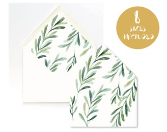 OLIVE BRANCH Envelope Liner Template,Instant Download,greenery watercolor, DIY Printable, Multiple Sizes,tuscany destination wedding theme