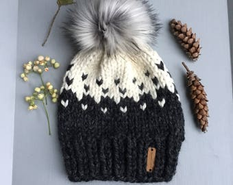 "Chunky knit hat with faux fur pom pom / ""Boone"" hat / Color - Charcoal and Fisherman / Fair Isle hat / ski hat"