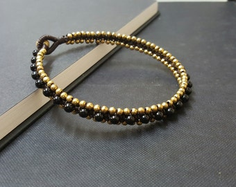 Onyx  Brass Woven  Anklet