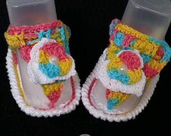 Multicolor Crochet Flip-flops