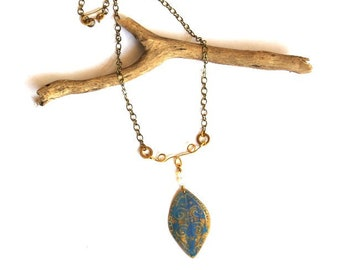Etched Tribal Brass and Blue Patina Leaf Necklace (P3025)