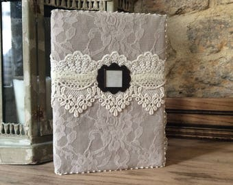 Lace journal, powder pink vintage notebook, altered notebook, lace diary, vintage wedding guest book, memories book, Victorian wedding decor