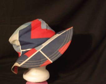 Vintage Mod Blue & Red  Floppy Roll Up Bucket Hat- Cotton Fabric- Beach Wear- Cruise Wear- Summer Hat bucket hat -