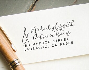 Modern Calligraphy Address Stamp, Custom Self-inking Stamp, Personalized Return Address Stamp, Return Address Stamp, Wedding Stationary