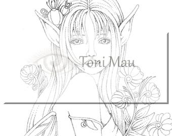 Emma delightful fairy – Digital Download Coloring Page, Adult Coloring, Relaxing, Digi Stamp, Printable, PDF file