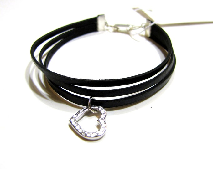 Leather Bracelet in Black Stacking / Layering Style Heart Charm Handmade
