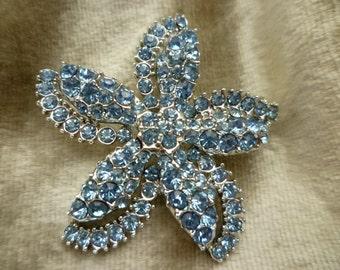 SALE 15% OFF! Claudette Book Piece Blue Rhinestone Starfish Pin/Brooch