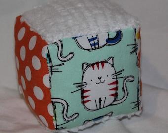 Small Mint Cat Fabric Block Rattle