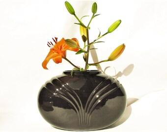 Vintage USA Black Ceramic Flower Vase   Minimalist Simple Display Pottery  W/ Art Deco Design