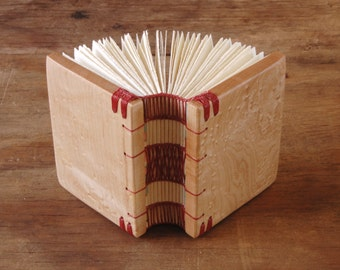 mini wood journal - birdseye maple small wood book handmade - book lover gift- unique gift - miniature book stocking stuffer- ready to ship