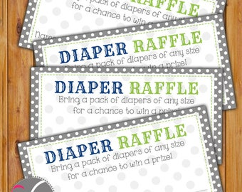 Diaper Raffle Card for Baby Shower Grey Navy Lime Green Dots Invitation Inserts Printable PDF--Instant Download