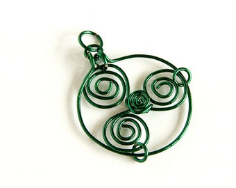 Green Pendant Triskele Celtic Triskelion Celtic Spirals Pendant Only