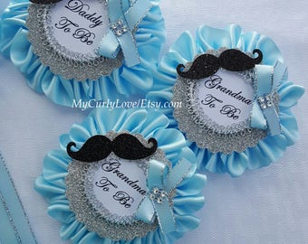 Mustache Baby Shower Corsage/Mustache Baby Shower Pins/Little Man Baby  Shower Corsage/