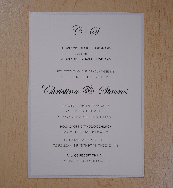 White Wedding Invitation, White Invitation, Simple Wedding ...