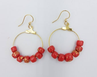 Regal red earrings, polymer beads in red and gold leaf,on gold plated hoops, hung on gold plated surgical steel earwires.