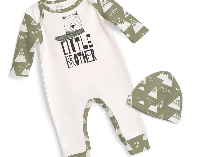 Little Brother Baby Romper,Newborn Boy Coming Home Outfit, Baby Boy Coming Home Outfit, Green Little Brother Outfit, TesaBabe