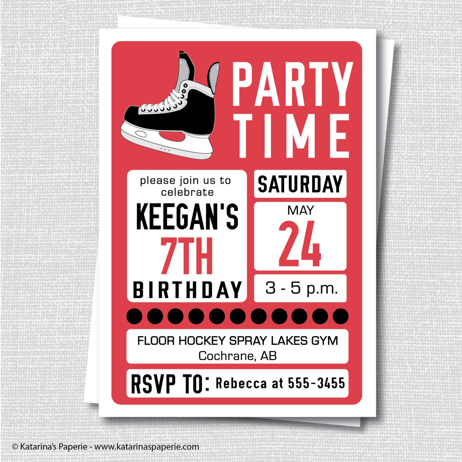 Hockey Birthday Invitation Ice Hockey Winter Party Teen