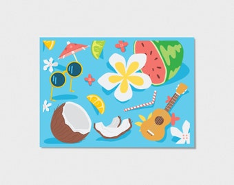 Summer Fruit and Floral Print - 5x7