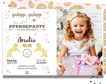 INVITATION to the birthday * with horse motif and its own photo * personalized & individual