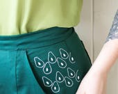 Avocado Embroidered Shorts - Three of a kind - Handmade by Alice