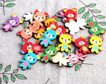 Natural Wooden Bear Buttons. Scrapbooking. Craft. Sewing. Jewelry. Embellishment.