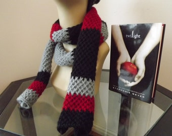 Twilight Inspired Scarf-100% Acrylic-Hand Knit out of Silver, Red and Black