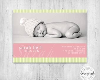 Sweet Birth Announcement Invitation - Printable Invitation