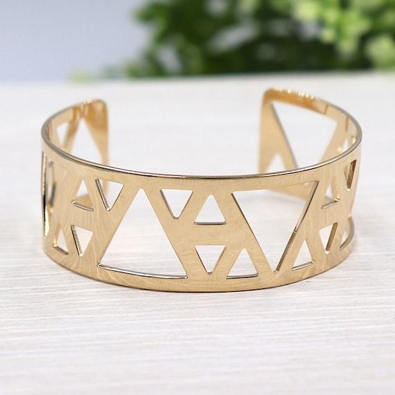 gold plated triangle women cuff Bangle Bracelet