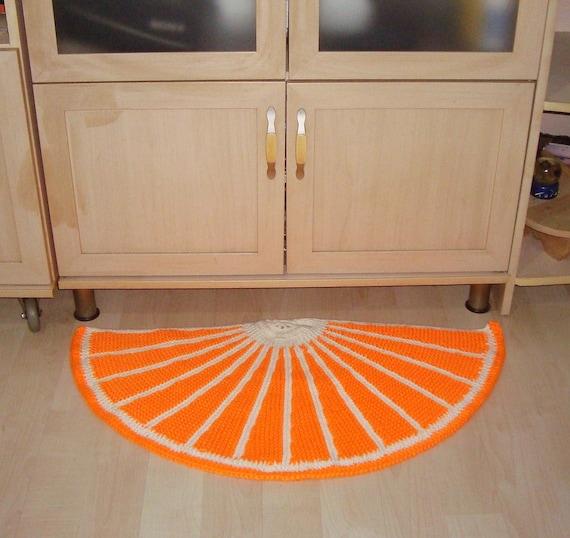 Orange Decor Door Mat Half Round Rug Orange Rug Hand Knit Rug