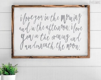 I Love You In the Morning | FREE SHIPPING | Skidamarink | Farmhouse Wood Sign | Shabby Chic Decor | 35x23 | 47X35