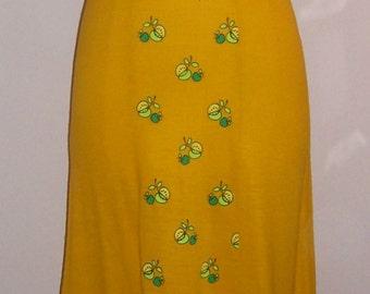 Vtg 70s Alfred Shaheen Jrs Mustard Yellow Dress Darling Little Green Apple Print XS