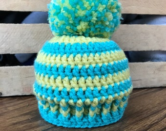 Teal and Yellow Baby Hat