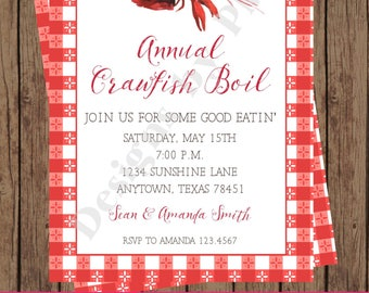 Custom Printed Watercolor Crawfish Boil Invitations - 1.00 each with envelope
