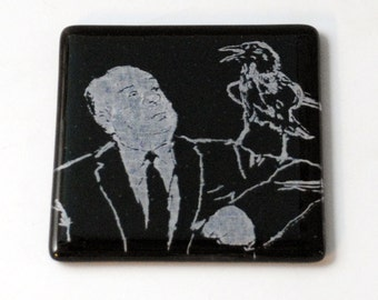 Alfred Hitchcock Fused Glass Coaster
