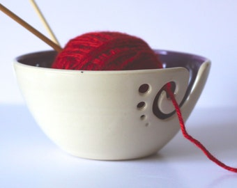 Purple Ceramic Yarn Bowl, Knitting Bowl, Crochet Bowl, Purple and White Yarn Bowl, Made to Order