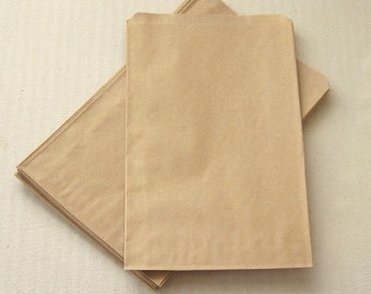 100 High Quality Flat Kraft Bags 5 x 7 1/2 inches - Recyclable Wedding Candy Buffet Bags