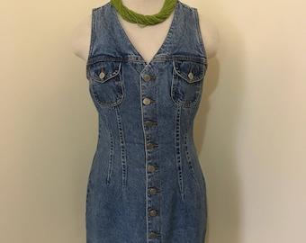 Vintage 90's Jean Dress|| Denim Dress || size:medium