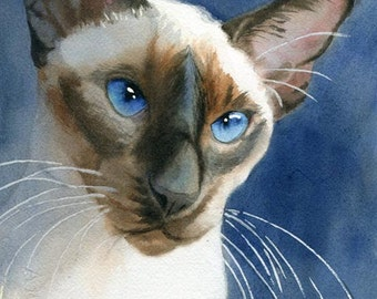Siamese cat art PRINT Giclée Watercolor Painting on Blue large huge Big seal point chocolate point