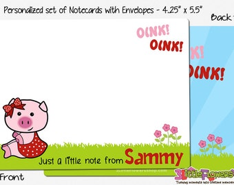 "Pig Note Cards - Set of Personalized Note Cards - 4.25"" x 5.5"" - Double-Sided Thank you Cards - Children Stationery - Kids Notecards"