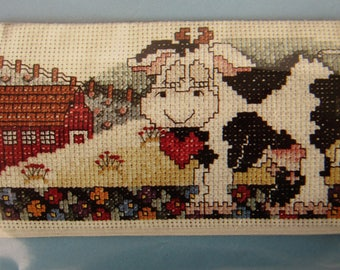 Counted Cross-Stitch Pattern for Pre-Finished Eyeglass Case, Happy Jersey Cow Country Scene