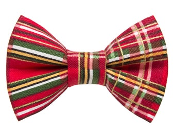 "Cat Bow Tie - ""The Second Helping"" - Holiday Red Plaid"